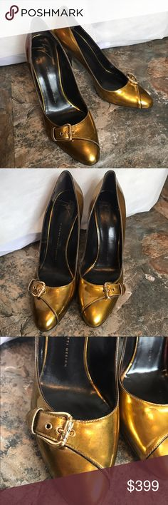 "Giuseppe zanotti design bronze pumps Virtually new only very little wear on bottoms but no where else 3"" heel these say 40.5 but fit more of a size 9 Giuseppe Zanotti Shoes"