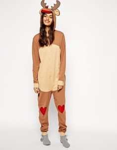 ASOS Rudolph Onesie With Glitter Nose you have to check out the back  #merrychristmas #rudolph