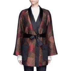 Rosetta Getty Patchwork jacquard belted trapeze jacket (65,205 INR) ❤ liked on Polyvore featuring outerwear, jackets, open front jacket, jacquard jacket, multi colored jacket, belted jacket and multi color jacket