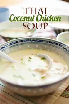 Easy Thai Ginger Coconut Soup - Beautiful Life and Home - Thai Coconut Chicken Soup. The only Thai Coconut Chicken Soup recipe you will ever want. Thai Coconut Chicken, Healthy Chicken Soup, Thai Coconut Soup, Vegetarian Chicken, Chicken Tortilla Soup, Chicken Soup Recipes, Healthy Soup, Chicken Avacado, Thai Chicken
