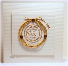 What a clever way for framing a circle stamp! Love this idea and card from Birgit. The circle and words are from the Number 1 Seal stamp set from TechniqueTuesday.com.