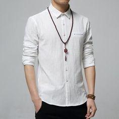 / Asian Size LNew Autumn Fashion Brand Men Colthes Slim Fit Men Long Sleeve Shirt White Linen Shirts Men Casual Business Shirts Plus size White Linen Shirt, Linen Shirts, Mens Linen Outfits, Expensive Clothes, Business Shirts, Unisex, Mens Sweatshirts, Slim Fit, Casual Shirts