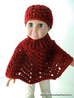American Girl Crocheted Poncho and Hat Set by SweetPeaFashions, $9.00