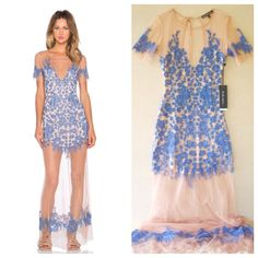 For Love & Lemons Luau Maxi Dress New with tags. Purchased from Revolve Clothing for $356. Size large. Runs small. Periwinkle and nude color. For Love and Lemons Dresses Maxi