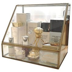Vintage Large Cosmetics Makeup Organizer Storage Case Holder Display with Slanted Front Open Lid-Cosmetic Spacious Storage for Makeup, Brushes, Perfumes, Skincare *** Click image for more details. (This is an affiliate link) #HomeDcor