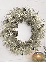 "Silver Pre Lit Winter Wreath - 20"" for front door 