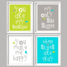 You Are My Sunshine in Lime green, Gray and Aqua, 4 prints 5x7 nursery art, baby shower gift via Etsy