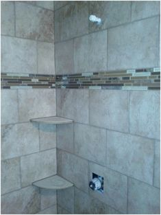 Bathroom Wall Tile Designs: 30 Cool Pictures And Ideas Pebble Shower Floor Tile 2019 Tile Shower Shelf, Pebble Shower Floor, Best Bathroom Tiles, Mosaic Bathroom, Bathroom Wall, Master Bathroom, Shower Bathroom, Small Bathroom, Bathroom Faucets
