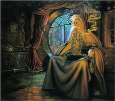 GANDALF AT BAG END BY MYLES PINKNEY. The master of wizard illustration certainly does justice to Gandalf.