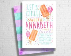 Popsicle Birthday Invitation  Summer Birthday Invitation