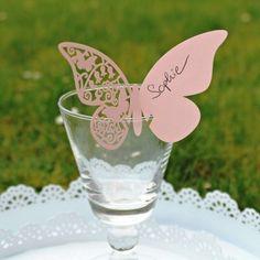 decoration mariage romantique marque place papillon rose