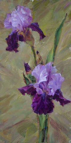 Purple Iris, oil painting by Teresa Vito #OilPaintingFlowers