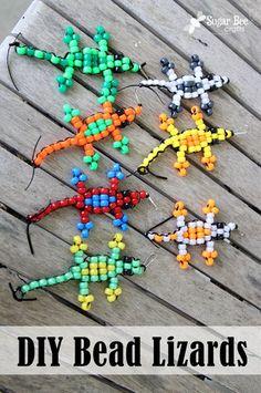 DIY bead lizards by @Nathalie Montecchi Bearden BeeCrafts #craftysummer