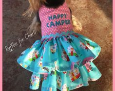 Adorable Custom Pet Clothing, Dog Dress. These are handmade by me :). Velcro closure around neck and chest make for easy on and off and comfort. This listing is for the dress pictured, Can be made in XXS XS S . You may also choose to have a D ring Added to the dress for leash attachment.    XXS Measurements: 8-9 chest • 7-8 neck • 8 in length    XS Measurements: 10-11 chest • 8-9 neck • 10 in length S Measurements: 12-15 Chest • 9-10 Neck • 14 Length The Dog modeling this is a 4 pound Yorkie…