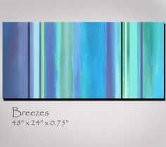 Abstract Art, Purple Green Turquoise Blue Stripes