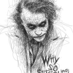 The JOKER, Heath LEdger...Incredible art by dyslexic man who uses scribbles to make masterpieces. 37 years old Artist Vince Low creates incredible scribble images, learned he had dyslexia in the process of producing these drawings!!