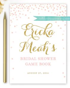 Excited to share the latest addition to my #etsy shop: Pink and Gold Bridal Shower Book Cover for Games . Bridal Shower Games Booklet Cover Page . Printable Digital Download . Bridal Shower DIY