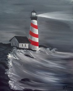 Beginners learn to paint acrylic Aurora Borealis landscape 25 simple and simple lighthouse painting ideas for beginners Artist Painting, Painting & Drawing, Watercolor Paintings, Lighthouse Painting, Beginner Painting, Easy Paintings, Learn To Paint, Acrylic Art, Painting Techniques