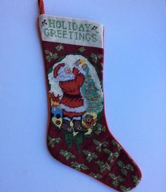 Holiday Greetings Santa Christmas Stocking Needlepoint 21  Tree Teddy Bear Holly : tapestry tent needlepoint christmas stockings - memphite.com