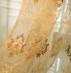 132 Inch Damask Embroidered Rod Pocket Sheer Curtains Sale