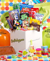 Birthday Bash Care Package. This would be a cool diy project as a gift or to receive. Large brownie, M, Snickers, Reese's Peanut Butter Cups, Jelly Beans, Microwave Popcorn, Skittles, Pop Rocks, Mike & Ikes, Chocolate Pretzels, Welch's Fruit Snacks, Laffy Taffy, Happy Birthday banner, hats, noisemakers, balloons, confetti, an assortment of surprise presents, etc.