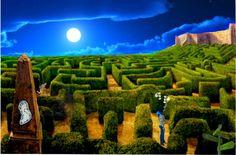 Autora: Tamara // Normalmente tengo un sueño que se me repite muy a menudo, en ese sueño voy a un lugar pero me pierdo y por más que lo intento, nunca llego al destino deseado.   En mi diseño he puesto un laberinto para simbolizar el hecho de que nunca encuentro el camino correcto; luego he puesto de fondo la luna porque cuando duermo es de noche; a continuación he puesto una imagen propia en medio del laberinto buscando el camino...