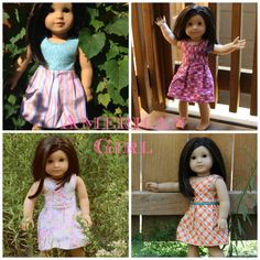"American Girl Dresses by East Dakota Quilter, link to free pattern for Katie Dress in blog, 18"" doll dress"