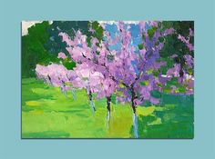 Blossoming Garden Landscape Original Oil Painting Palette