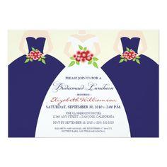 Navy Invitation Bride & Bridesmaids Bridal Luncheon Invite (navy)  #navy #wedding #bridal
