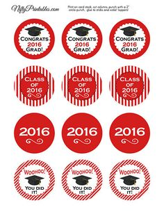 Red Graduation Cupcake Toppers Printable 2016 by NiftyPrintables