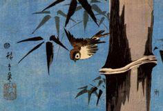 Utagawa Hiroshige Sparrow and Bamboo Art Print Poster Posters at AllPosters.com