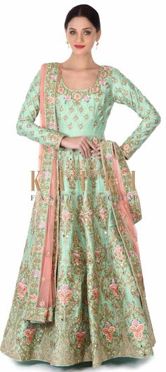 Buy this Green anarkali suit embellished in floral embroidery only on Kalki