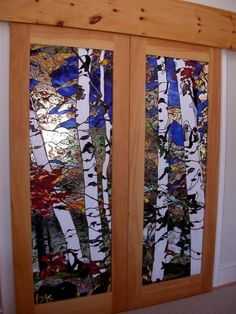BEAUTIFUL doors w/stained glass birch trees!