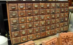 herb cabinet (looks like a card catalog from the library).