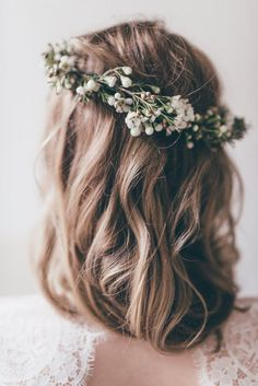 floral halo (bridesmaids hairstyles down curly)