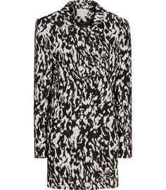 Womens Black/cream Structured Jacquard Coat - Reiss Frankie
