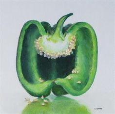 """Daily Paintworks - """"Green Pepper"""" - Original Fine Art for Sale - © Linda Demers Nature Drawing, Food Drawing, Drawing Ideas, Fruits Drawing, Watercolor Fruit, Watercolor Flowers, Watercolour, Grape Drawing, Gcse Art Sketchbook"""