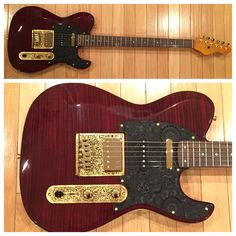 "Dean Zelinsky Dellatera ""Baritone"" Electric Guitar with Gold Tejas Hardware & Black Paisley Pickguard in Trans Wine"