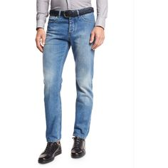 Ermenegildo Zegna Light Wash Luxe Denim Jeans ($745) ❤ liked on Polyvore featuring men's fashion, men's clothing, men's jeans, light blue, men's apparel jeans, mens light wash jeans, mens patched jeans, mens faded jeans, mens straight leg jeans and mens zipper jeans