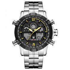 Ceasul barbatesc WEIDE este special conceput pentru un barbat activ si modern, si poate fi un cadou foarte placut pentru iubitul, sotul, tatal, prietenul, colegul sau seful tau. Ceasul are un stil casual/sport, afisaj - analog + digital, materialul bratarii este metalic, materialul carcasei este din otel inoxidabil iar geamul este o compozitie de minerale facandu-l rezistent la zgarieturi. #ceasuri #ceasbarbatesc #ceasuribarbatesti #ceasweide #ceassport #ceascasual Durable Watches, Black White Red, Classic Man, Casio Watch, Watch Bands, Watches For Men, Quartz, Mens Fashion, Digital