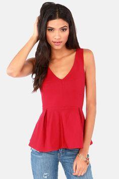 Flare Game Sleeveless Red Top at LuLus.com! #holidaywear #lulus