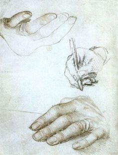 Hans Holbein the Younger -  Studies of the Hands of Erasmus of Rotterdam -  c. 1523 Silverpoint, ruddle, and black chalks on white coated paper, 206 x 153 mm /  Musée du Louvre, Paris