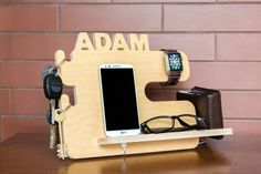 Personalized docking station iPhone charging by SinitinaWorkshop