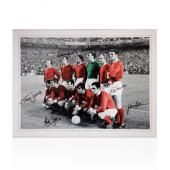 Manchester United 1968 Signed Colourised Team Photo - Signed By 7