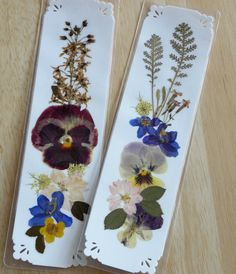 NATURAL PRESSED FLOWER Bookmarks Unique Handmade Collage Art via Etsy