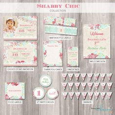 Shabby+Chic+Party+Package++Shabby+Chic+Birthday+by+StyleswithCharm,+$38.00