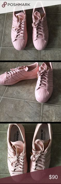 Custom all blush pink adidas superstar All blush pink adidas with gold accents never worn. Adidas Shoes Athletic Shoes