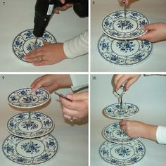 DIY cake stand tutorial. Would love this with three different plates, of course! No matchy-matchy.