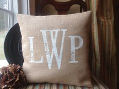 Monogrammed Burlap Pillow Cover Choose Your Size  by SassafrasHome, $25.00