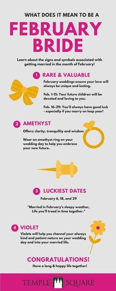 Are you planning your February Wedding? Check out these symbols and facts for February Brides!